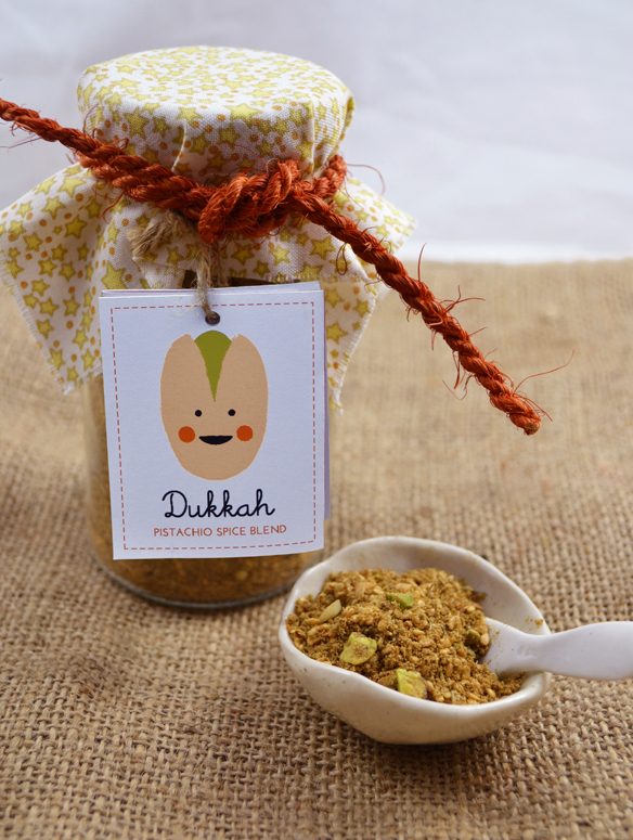 Home-made pistachio dukkah. One Equals Two.