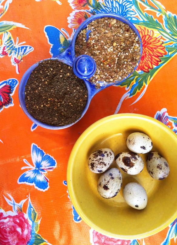Quail eggs and dukkah
