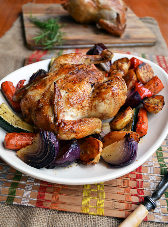 Roast chicken and herbed veggies. One Equals Two.