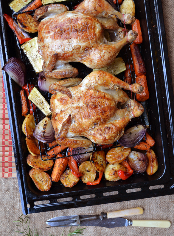 Two roast chickens and herbed veggies. One Equals Two.