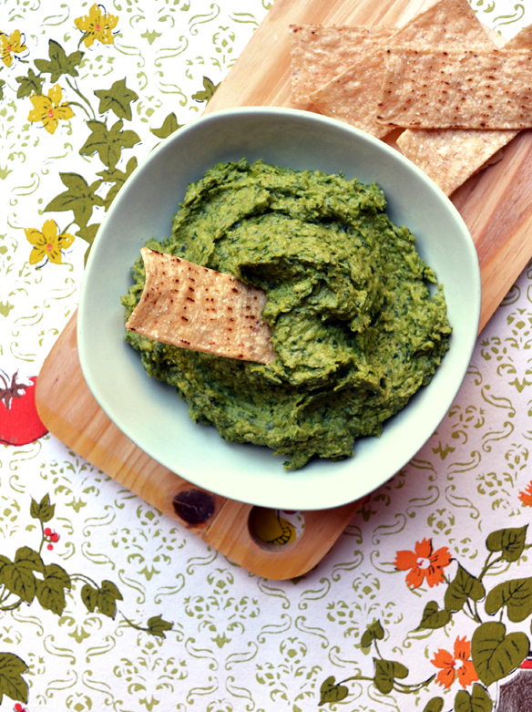 Peacamole dip (guacamole made with peas)