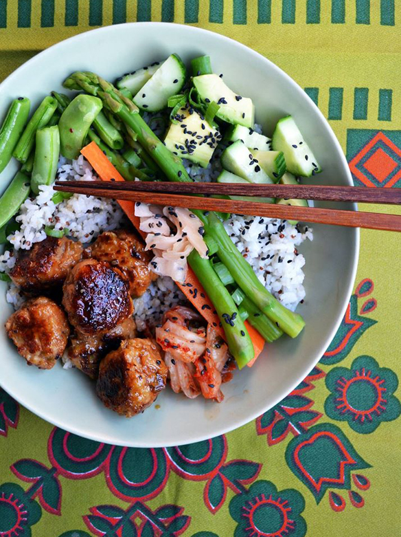Tsukune (teriyaki chicken balls) rice bowl. One Equals Two.