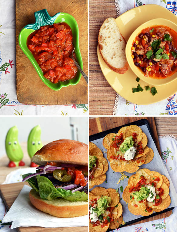 Home-made cooked tomato salsa and 3 ways to use it. One Equals Two.