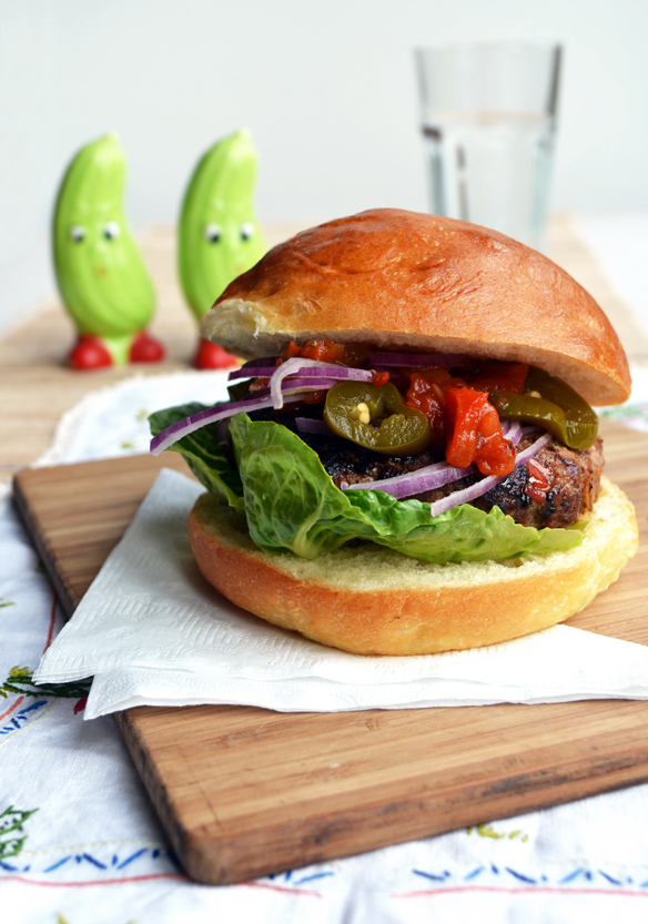 Mexi Burgers with home-made salsa. One Equals Two.