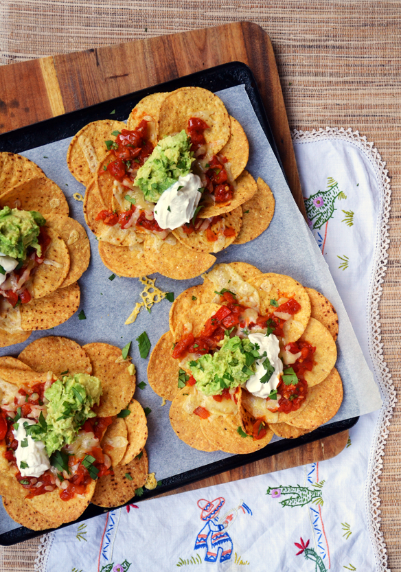 Nachos with home-made salsa. One Equals Two.