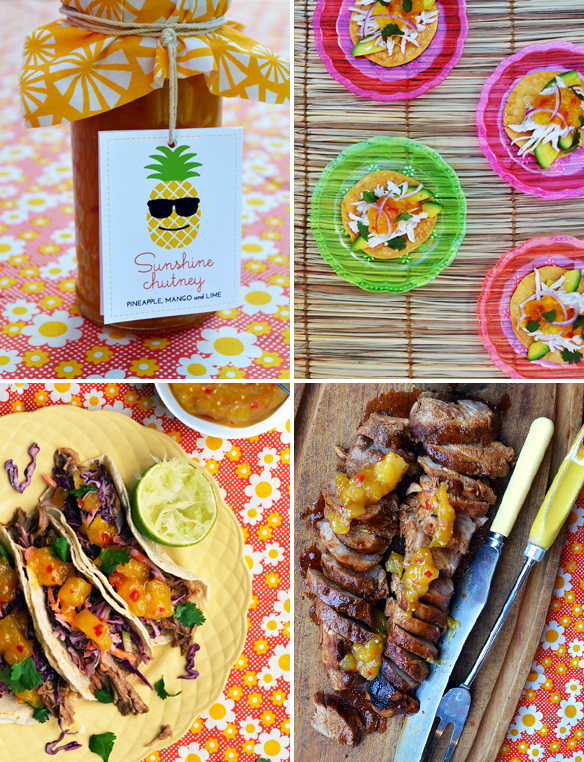3 ways with Sunshine Chutney (pineapple, mango, lime). One Equals Two.